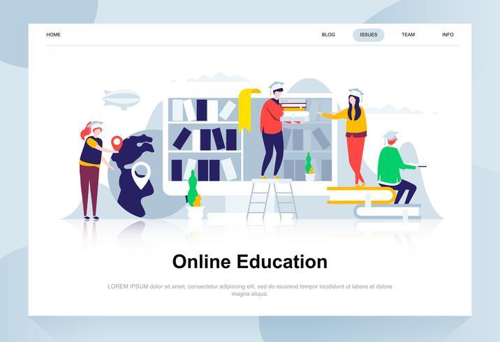 Educación en línea moderna concepto de diseño plano. Aprendizaje y concepto de personas. Plantilla de página de aterrizaje. Ilustración de vector plano conceptual para página web, sitio web y sitio web móvil.