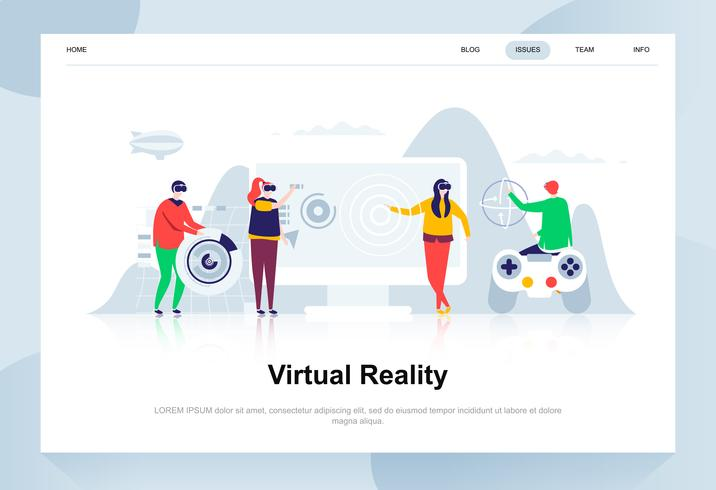 Virtual augmented reality glasses modern flat design concept
