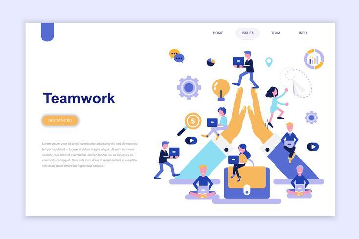 Plantilla de página de destino del concepto de diseño plano moderno de trabajo en equipo. Aprendizaje y concepto de personas. Ilustración de vector plano conceptual para página web, sitio web y sitio web móvil.