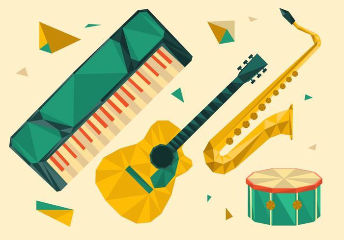 Illustrazione di vettore geometrico poligonale dello strumento musicale
