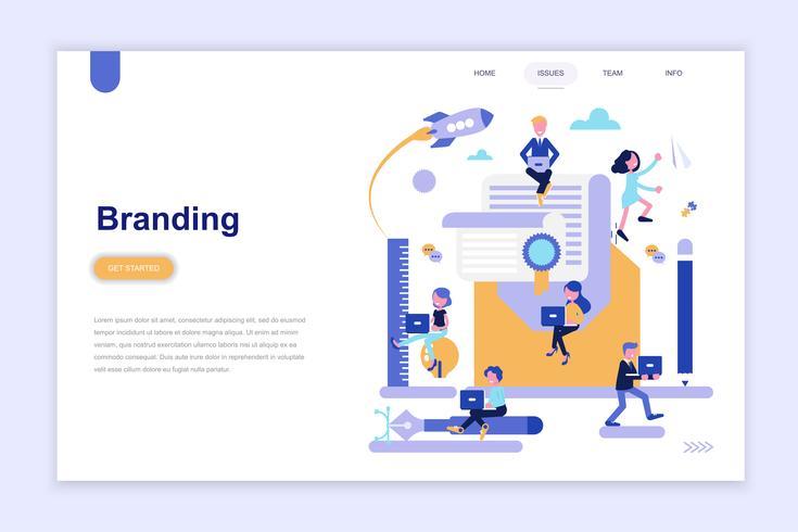 Plantilla de página de aterrizaje de marca y publicidad moderno concepto de diseño plano. Aprendizaje y concepto de personas. Ilustración de vector plano conceptual para página web, sitio web y sitio web móvil.