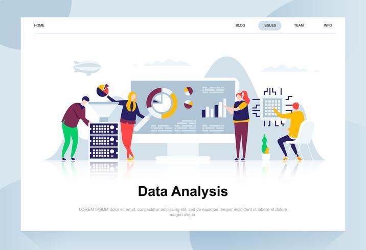 Concetto moderno di design piatto di analisi dei dati