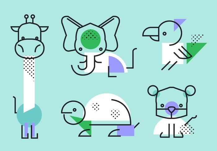 Bstract Simple Geometric Shape Animals Vector