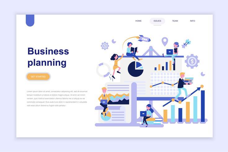 Modelo de página de destino do conceito de design plano moderno de planejamento de negócios. Aprendizagem e conceito de pessoas. Ilustração em vetor plana conceitual para a página da web, site e site móvel.