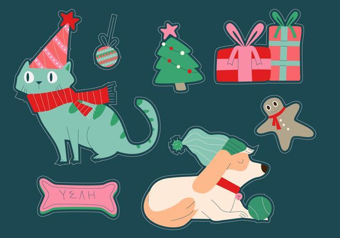 Gato e cachorro natal inverno adesivo ilustração vetorial
