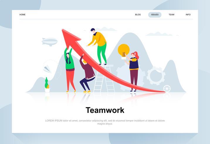 Conceito de design moderno de trabalho em equipe. Conceito de liderança e pessoas. Modelo de página de destino. Ilustração em vetor plana conceitual para a página da web, site e site móvel.