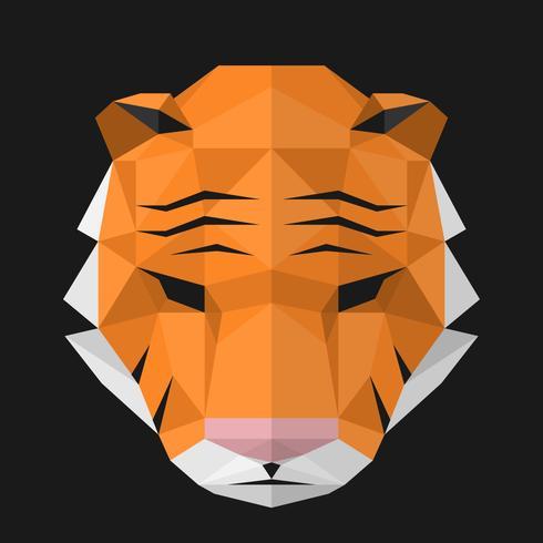Geometrica Testa Poligonale Di Una Illustrazione Tigre vettore