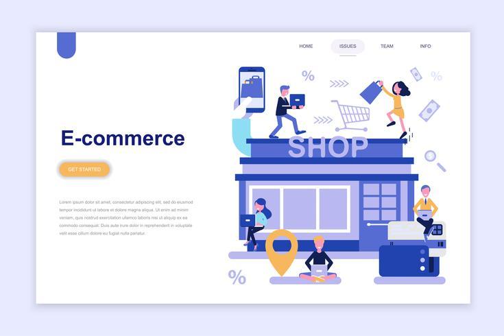 Målsida mall för e-handel och shopping moderna plattform koncept. Lärande och människokoncept. Konceptuell platt vektor illustration för webbsida, webbplats och mobil webbplats.