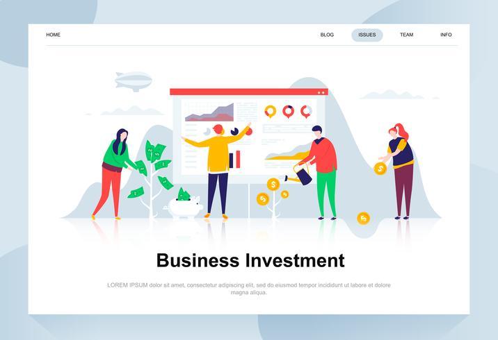 Conceito de design plano moderno de investimento empresarial. Conceito de dinheiro e pessoas. Modelo de página de destino. Ilustração em vetor plana conceitual para a página da web, site e site móvel.