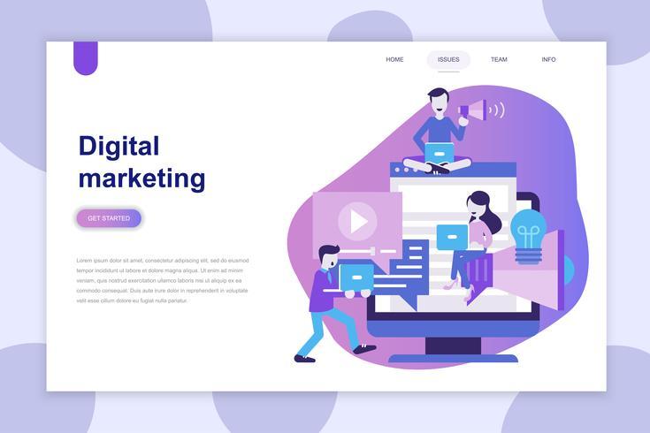 Concepto de diseño plano moderno de Marketing Digital para sitio web y sitio web móvil. Plantilla de página de aterrizaje. Se puede utilizar para banner web, infografías, imágenes de héroe. Ilustracion vectorial