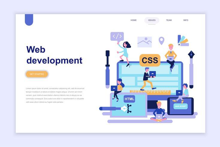 Bestemmingspagina sjabloon van webontwikkeling moderne platte ontwerpconcept. Leren en mensen concept. Conceptuele platte vectorillustratie voor webpagina, website en mobiele website.