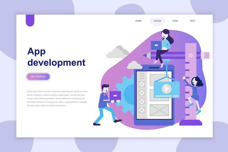 Modernes flaches Designkonzept von App Development für Website und mobile Website. Zielseitenvorlage. Kann für Webbanner, Infografiken und Heldenbilder verwendet werden. Vektor-illustration