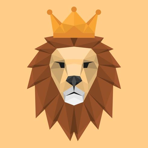 Geometric Low Polygon Style Lion Face Head With Crown Triangular Illustration