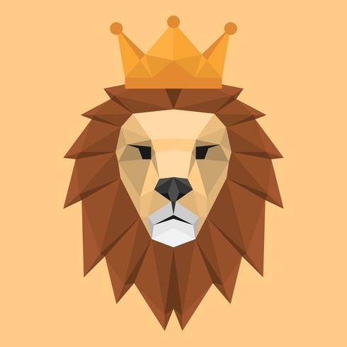 Stile geometrico basso poligono Lion Face Head con corona triangolare illustrazione