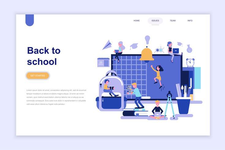 Modèle de page d'atterrissage de retour au concept de design plat moderne d'école. Concept d'apprentissage et de personnes. Illustration vectorielle plat conceptuel pour la page Web, site Web et site Web mobile.