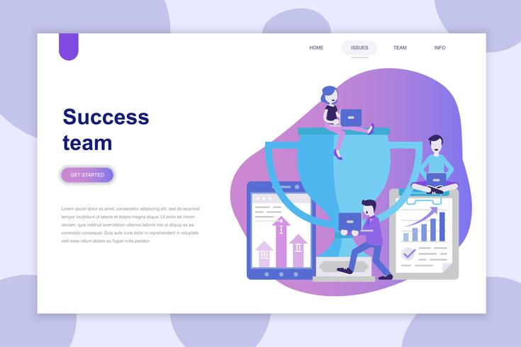 Modern plat ontwerpconcept van Success Team voor website en mobiele website. Bestemmingspaginasjabloon. Kan gebruiken voor webbanner, infographics, hero images. Vector illustratie.
