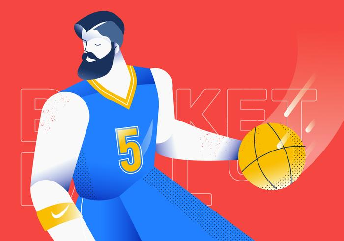 Dribbling Ball-Basketball-Spieler-Vektor-Illustration vektor