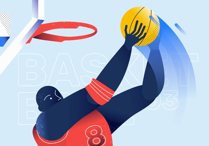 Slam Dunk jugador de baloncesto vector illustration