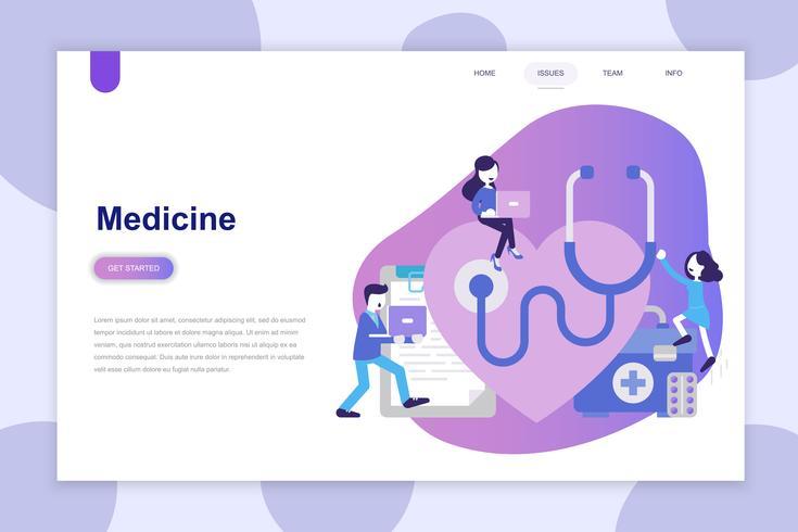 Concepto de diseño plano moderno de la medicina para el sitio web y el sitio web móvil. Plantilla de página de aterrizaje. Se puede utilizar para banner web, infografías, imágenes de héroe. Ilustracion vectorial
