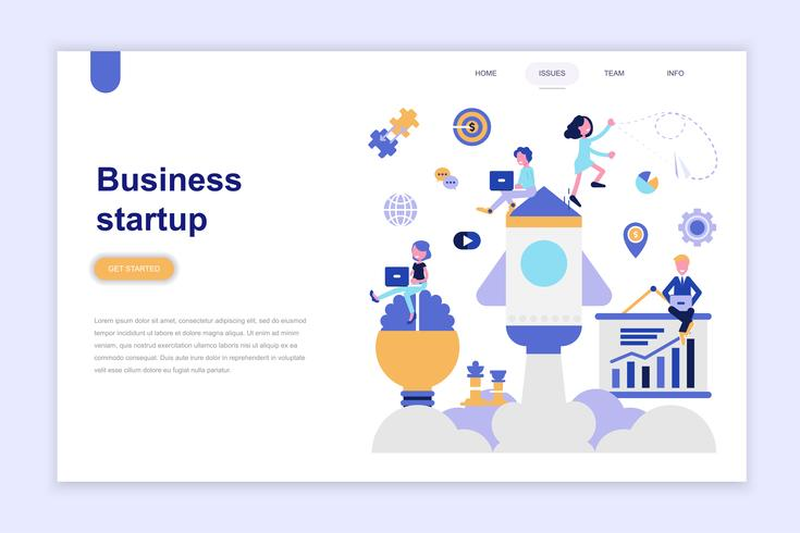 Landing page template of business startup