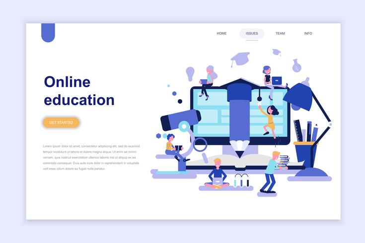 Landing page template of online education design