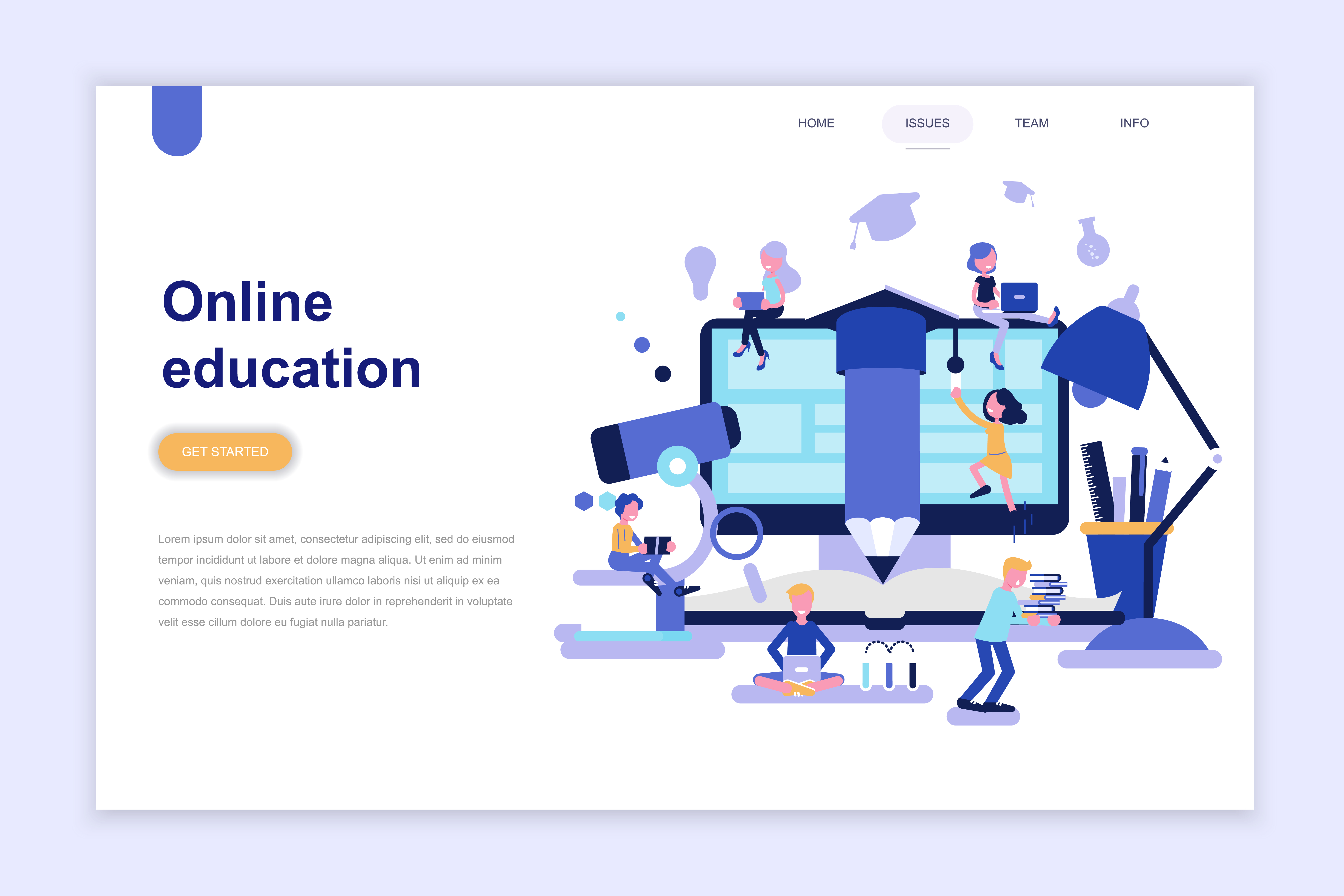 Landing page template of online education design ...