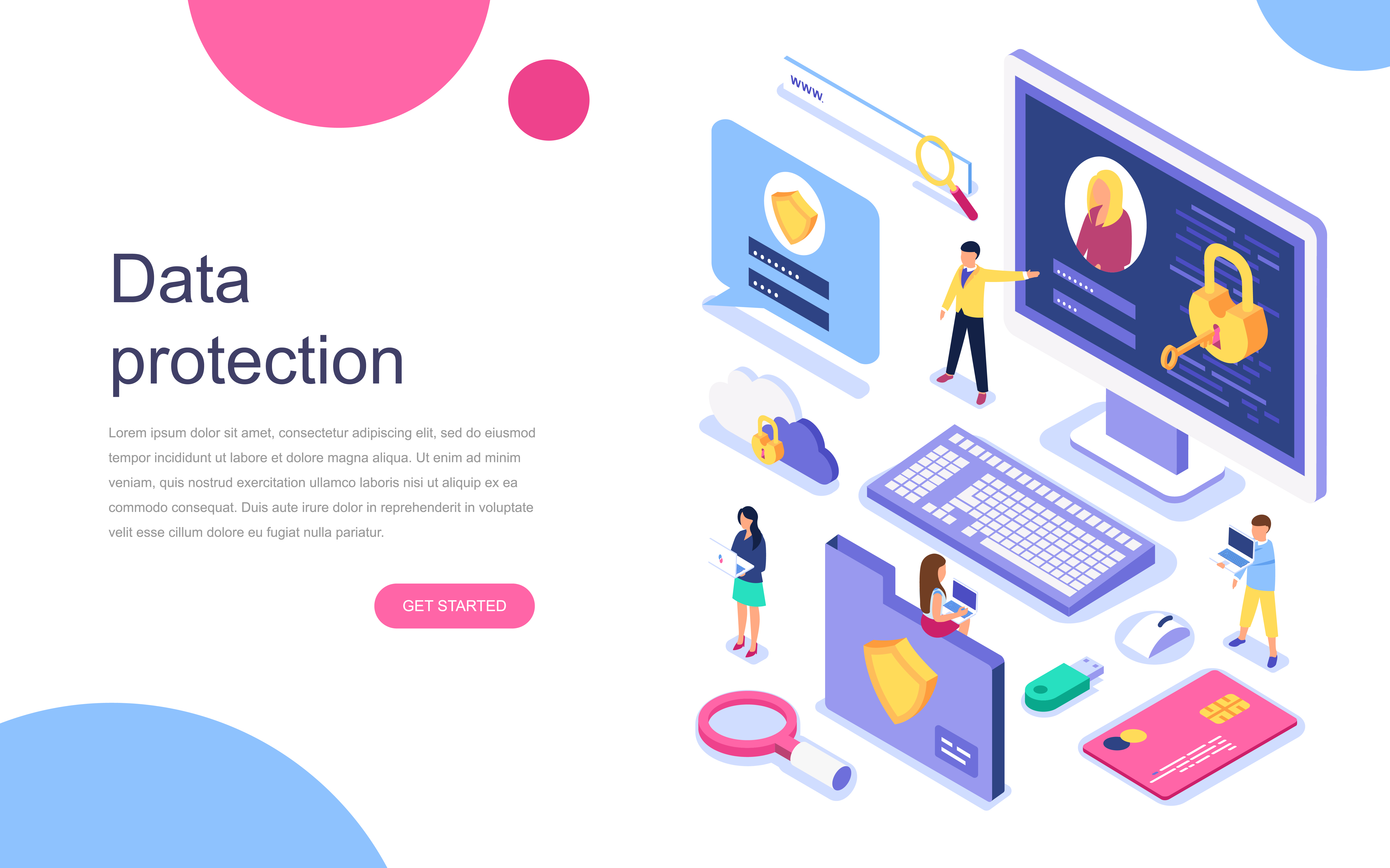 Vector Illustration Web Designs: Isometric Concept Of Data Protection Web Banner
