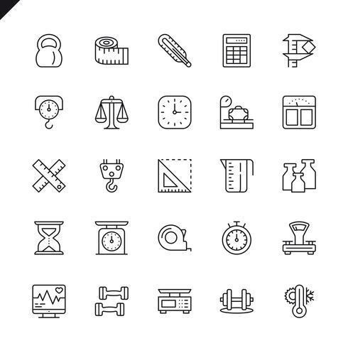 Tunnlinjemätning, mätelementelementikoner för webbplats och mobilwebbplats och -app. Översikt ikoner design. 48x48 Pixel Perfect. Linjärt piktogrampaket. Vektor illustration.