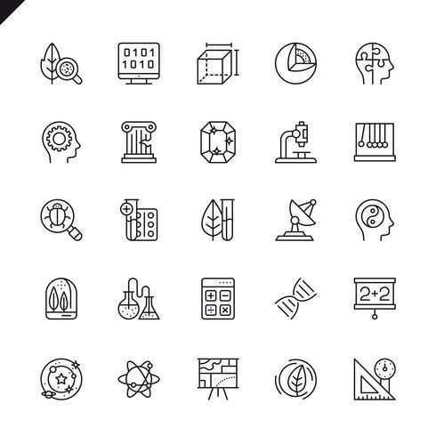 Ciencia delgada, iconos de elementos de actividad científica establecidos para sitio web, sitio móvil y aplicaciones. Esquema de los iconos de diseño. 48x48 Pixel Perfect. Pack de pictogramas lineales. Ilustracion vectorial