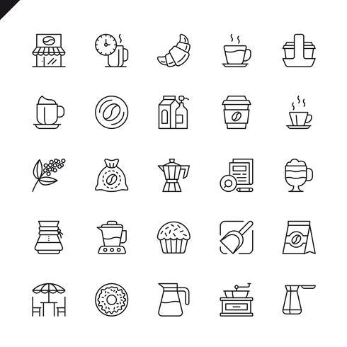 Dünne Linie Kaffee, Kaffeehaus, Kaffeestubeelementikonen stellten für Website und beweglichen Standort und apps ein. Umreißen Sie Ikonenentwurf. 48x48 Pixel Perfekt. Lineare Piktogrammpackung Vektor-illustration