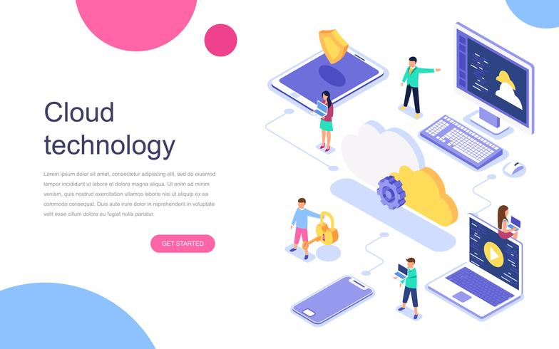 Concept isométrique moderne design plat de technologie Cloud pour bannière et site Web. Modèle de page de destination. Centre de données, solutions logicielles pour partager des informations sur un réseau numérique. Illustration vectorielle
