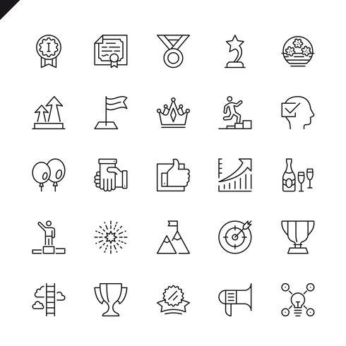 Successo di linea sottile, premi, set di icone di successo