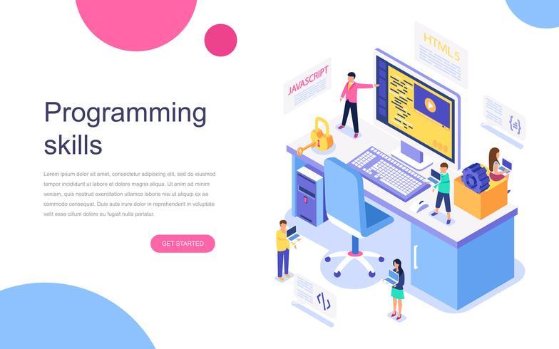 Modernes flaches Design isometrisches Konzept der Programmierfähigkeiten für Banner und Website. Zielseitenvorlage. Entwickler eines Projektteams von Ingenieuren für Website-Codierung. Vektor-illustration