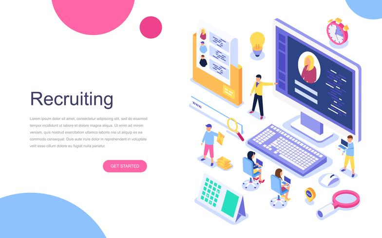 Modern flat design isometric concept of Recruiting web banner