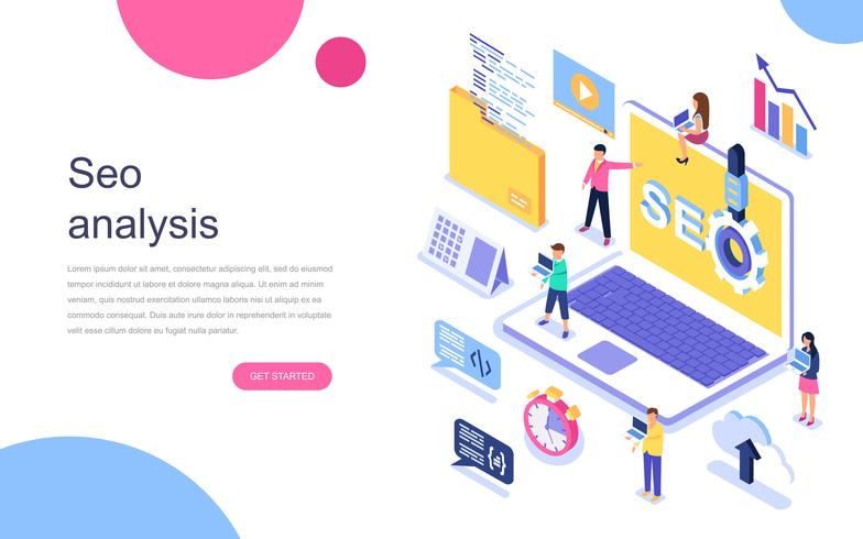 SEO Analysis isometric concept web banner