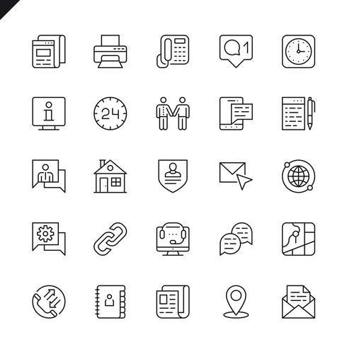Línea delgada contáctenos iconos establecidos para sitio web y sitio móvil y aplicaciones. Esquema de los iconos de diseño. 48x48 Pixel Perfect. Pack de pictogramas lineales. Ilustracion vectorial