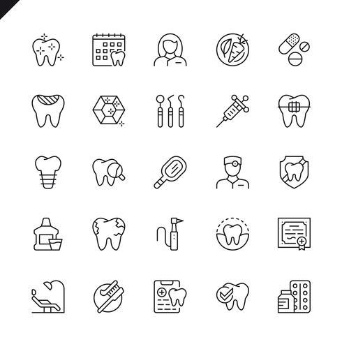 Os ícones dentais da linha fina ajustaram-se para o Web site e local móvel e apps. Design de ícones de contorno. 48x48 Pixel Perfeito. Pacote de pictograma linear. Ilustração vetorial. vetor