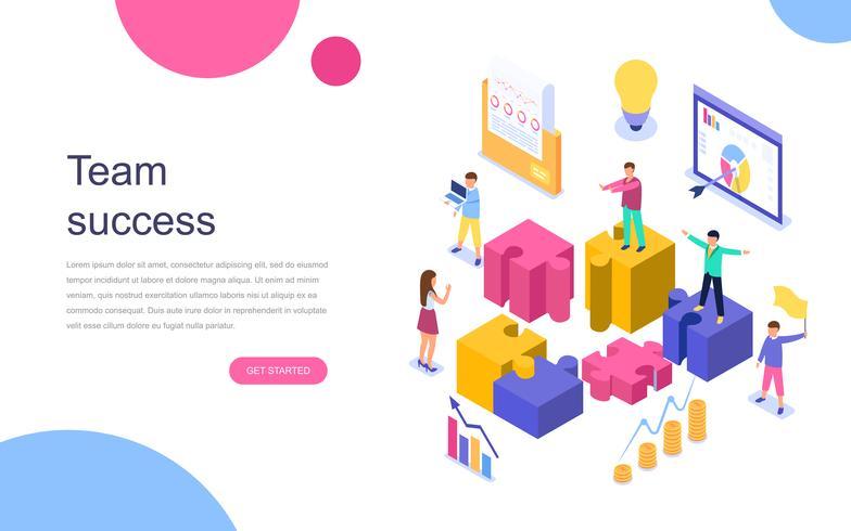 Concepto isométrico de diseño plano moderno de Team Success para banner y sitio web. Plantilla de página de aterrizaje. Gente de negocios exitosa trabajando juntos. Ilustracion vectorial