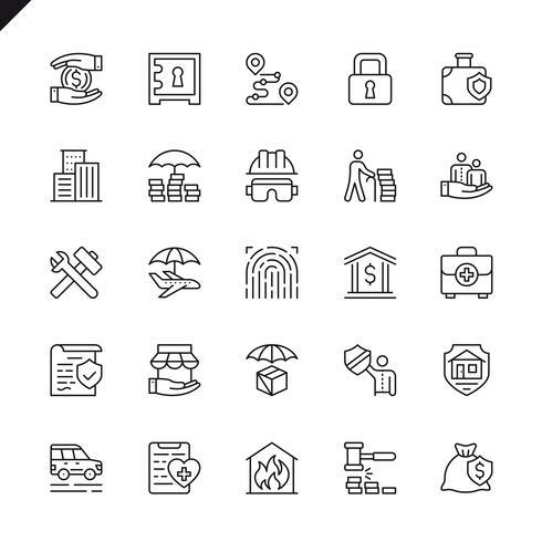 Insieme dell'icona di elementi di assicurazione linea sottile