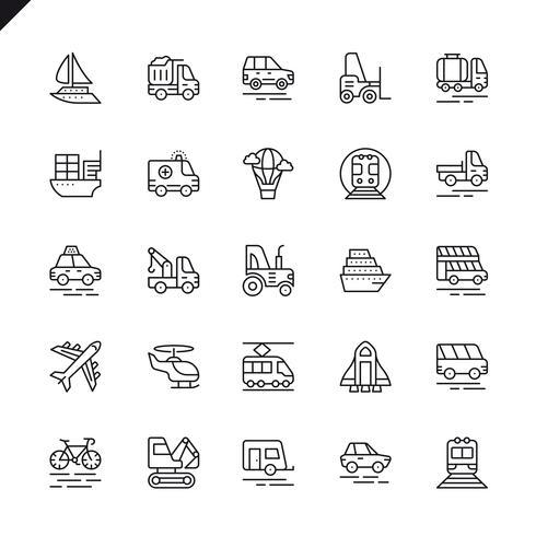 Pictogrammen voor het transport van dunne lijnen, voertuigen en bezorgingselementen instellen voor website en mobiele site en apps. Overzicht iconen ontwerp. 48x48 Pixel Perfect. Lineair pictogrampakket. Vector illustratie.