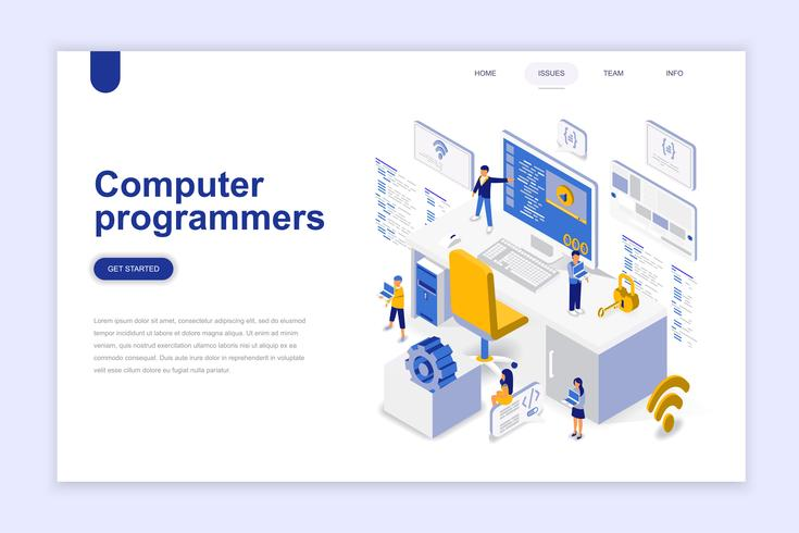 Computer programmers isometric concept