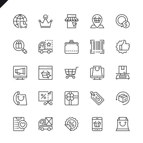 Thin line e-commerce, shopping and delivery icon set