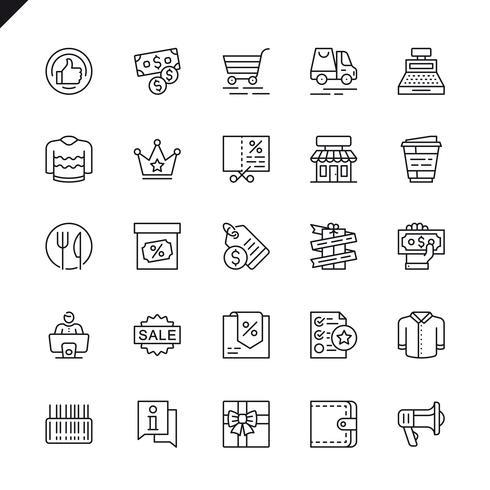 Tunna raden köpcentra, detaljhandel ikoner som anges för webbplats och mobil webbplats och appar. Översikt ikoner design. 48x48 Pixel Perfect. Linjärt piktogrampaket. Vektor illustration.