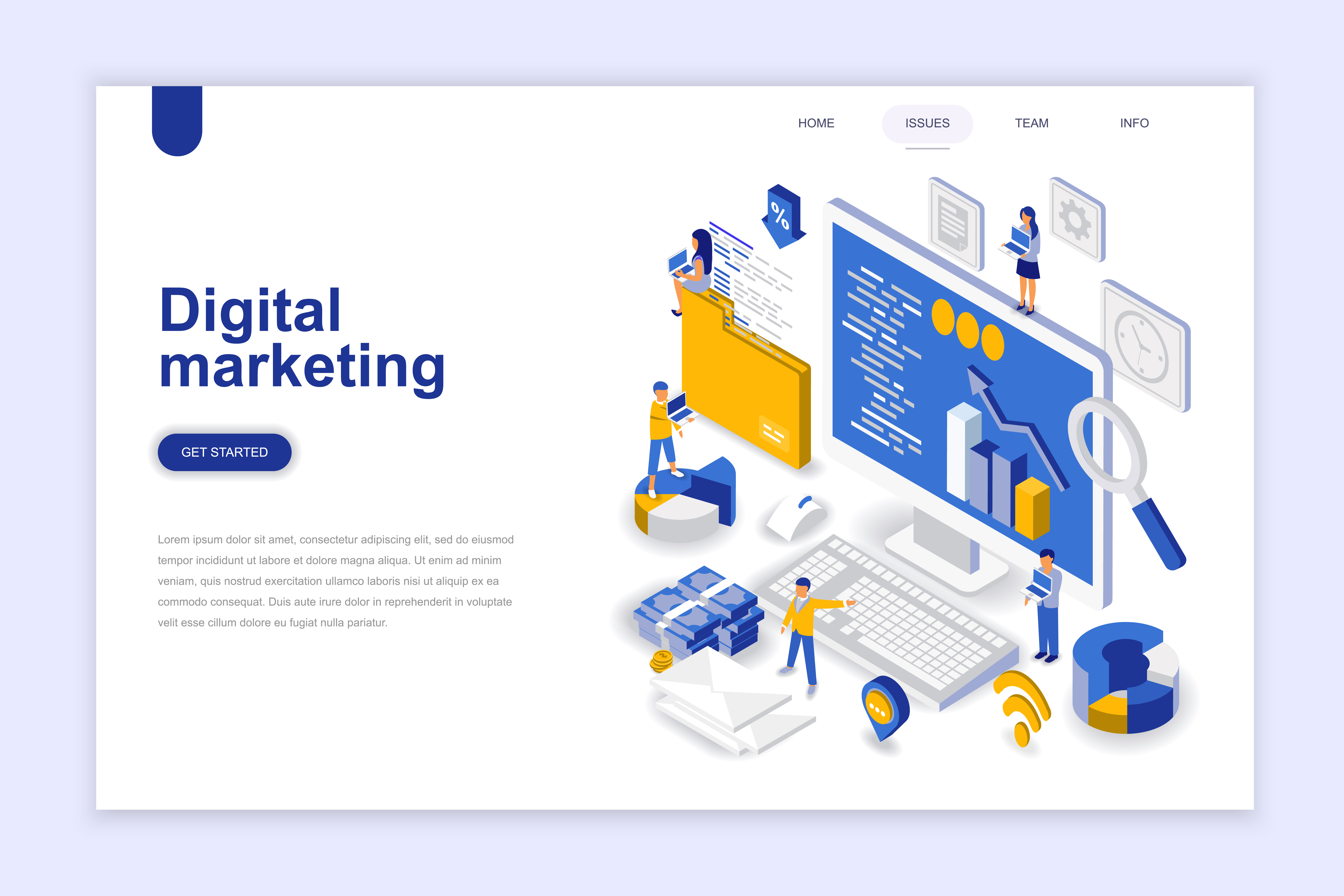 Vector Illustration Web Designs: Digital Marketing Modern Flat Design Isometric Concept