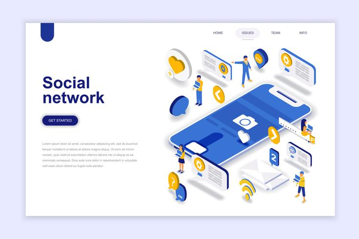 Concept isométrique de design plat moderne réseau social. Concept de communication et de personnes. Modèle de page de destination. Illustration vectorielle isométrique conceptuel pour le web et le graphisme.