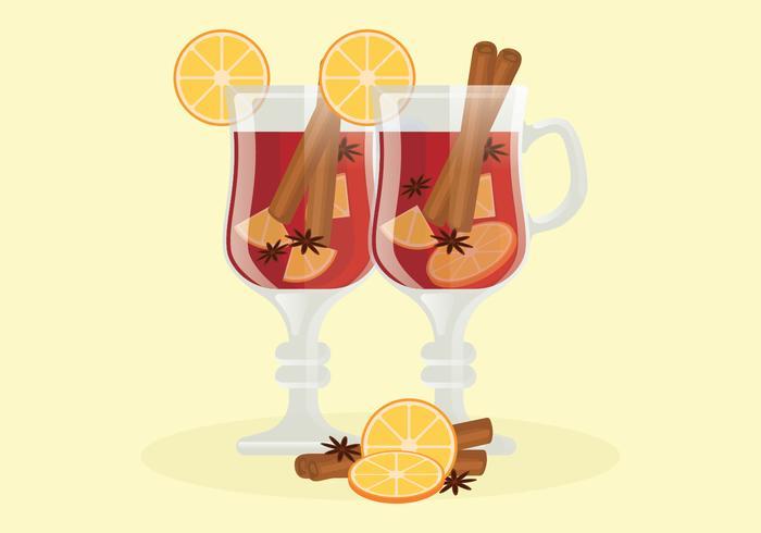 Ilustração em vetor de vinho quente