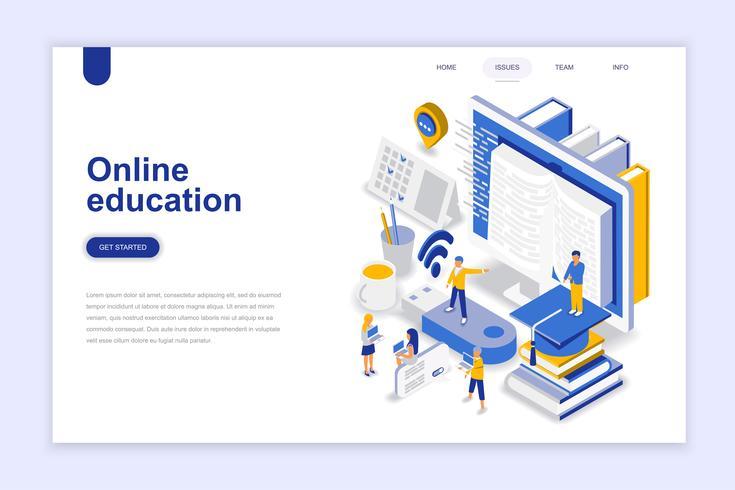Concepto isométrico moderno diseño plano de la educación en línea. Aprendizaje y concepto de personas. Plantilla de página de aterrizaje. Ilustración vectorial isométrica conceptual para web y diseño gráfico.