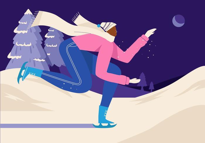 Hombre patinaje sobre hielo en invierno ilustración