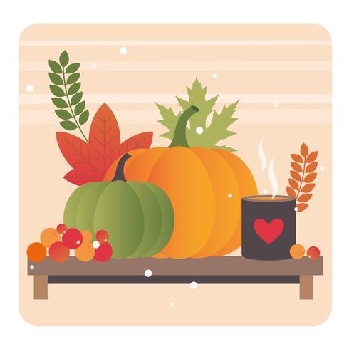 Vector ilustración de elementos de otoño