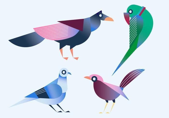 Ilustração em vetor geométrico simples pássaro de forma